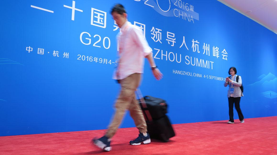 G20峰会新闻中心:那些匆匆的身影
