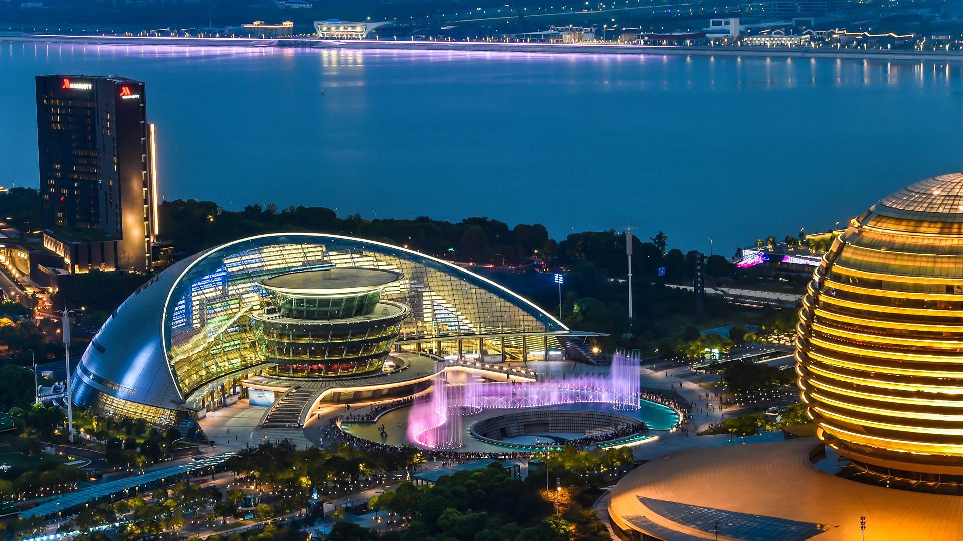 G20杭州峰会,杭州夜色柔美,灯光璀璨